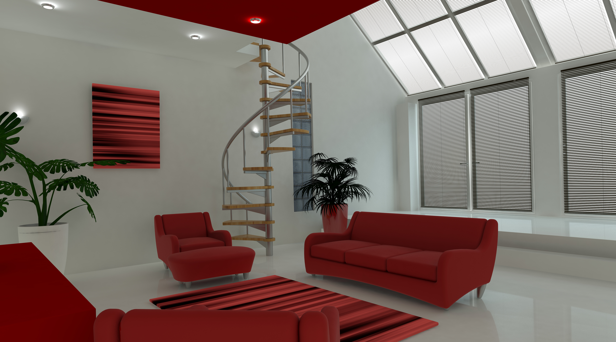 3d design of a room with stairs interior design marbella interior