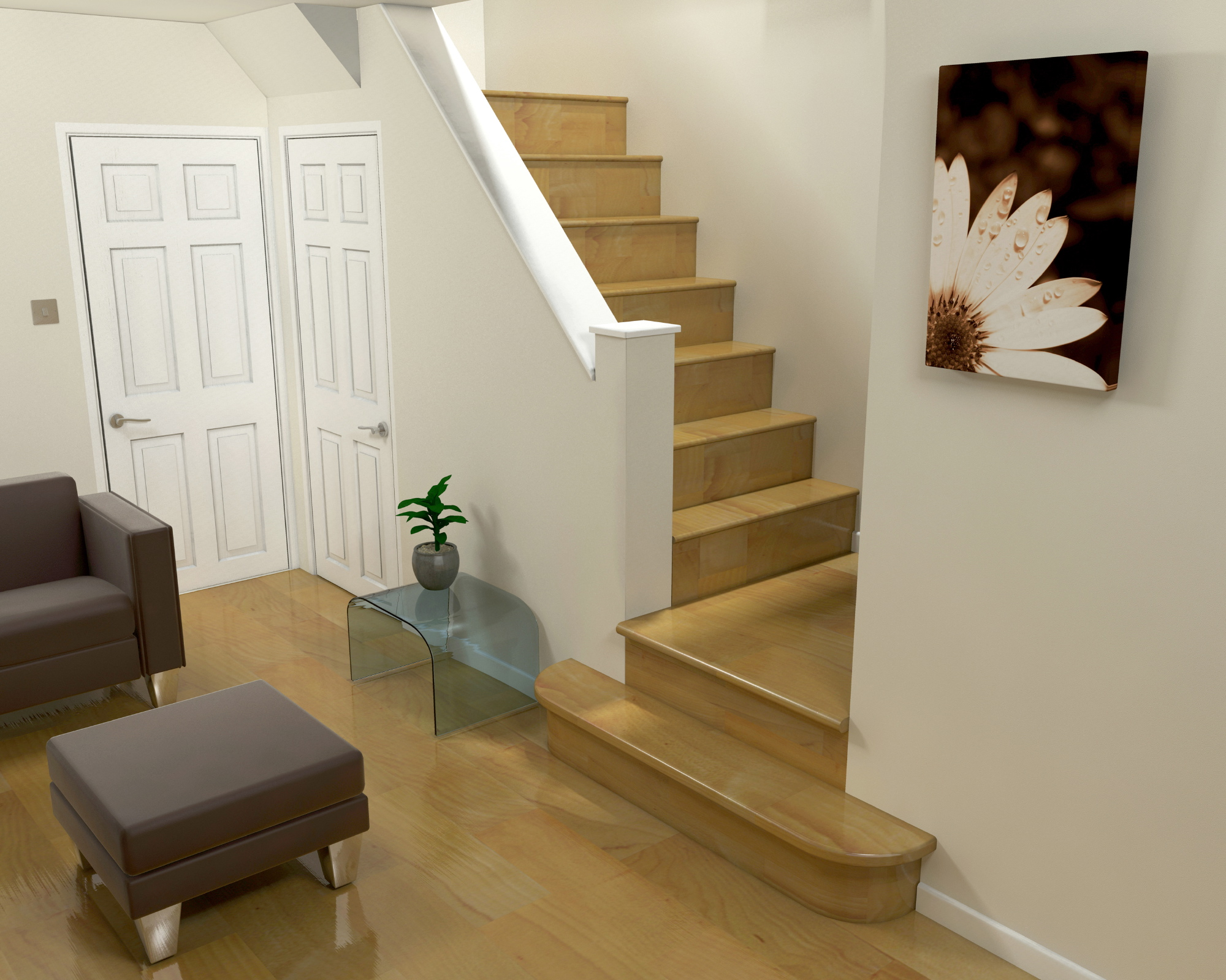 Interior design marbella 3d design of a room with stairs for Interior staircase designs